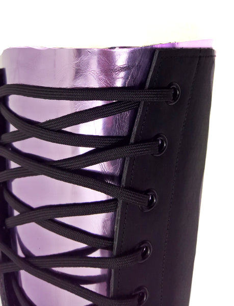 VEGAN or Leather Black Aerial Boots w/LILAC metallic back