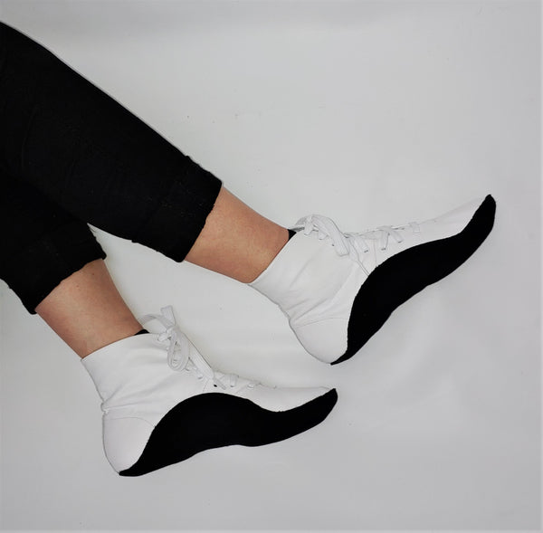 WHITE Tightrope Ankle Boots w/ BLACK Sole