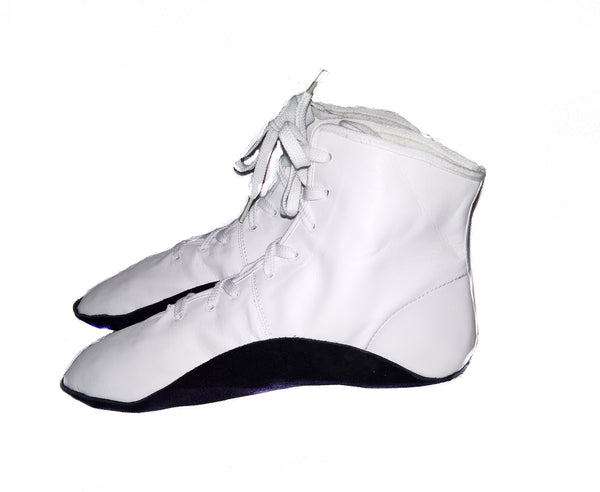 WHITE Tightrope Shoes Jazz Boot Style w/ BLACK sole