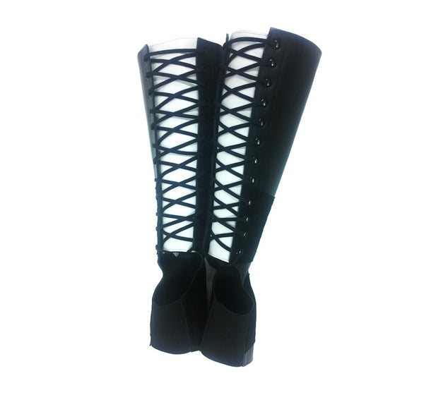 Black Aerial boots w/ WHITE Back Panel