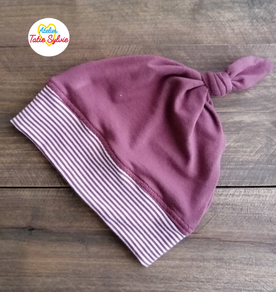 Bonnet Tuque Rose Brun Rayure Blanc Noeud