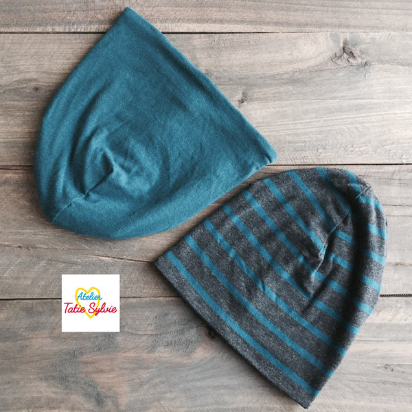 Tuque réversible Turquoise/rayure gris-turquoise