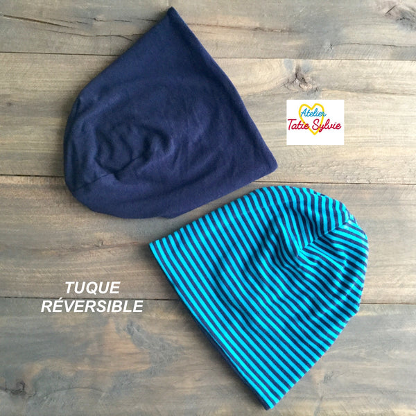 Tuque réversible Marine/rayure marine-turquoise