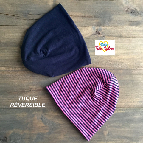 Tuque réversible Marine/rayure marine-rose