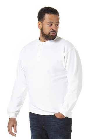 Men's Button-Up Sweatshirt in White