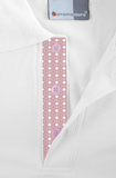 Men's White Polo Shirt With Pink Dotted Detail