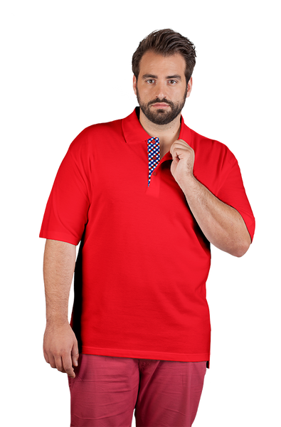 Men's Red Polo Shirt With Plaid Detail