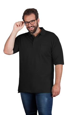 Men's Polo with Shirt Pocket in Black