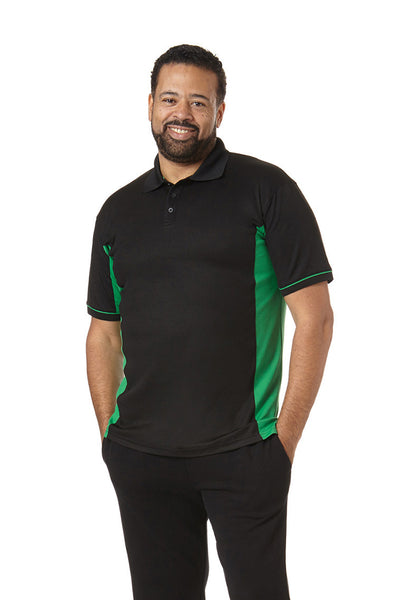 Men's Contrast Performance Polo in Black and Green