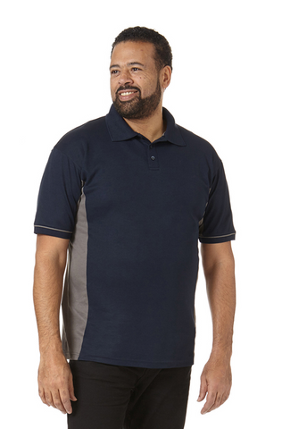 Men's Contrast Performance Polo in Navy and Grey