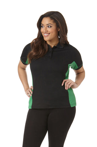 Women's Performance Polo in Black and Green