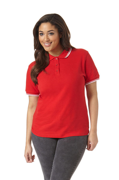Women's Polo with Striped Collar in Red