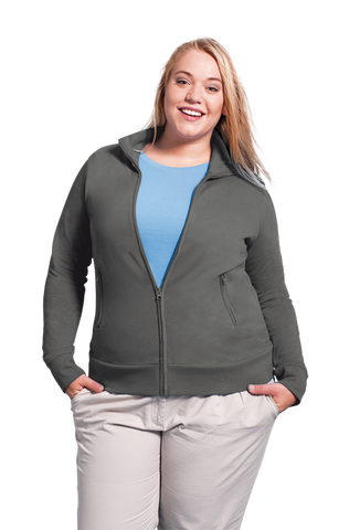 Women's Zip Up Jumper with Collar in Light Grey