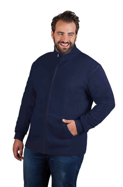 Men's Double Fleece Jacket in Navy Blue and Light Grey
