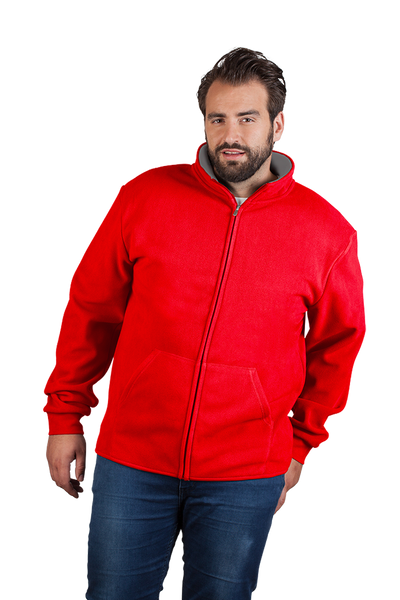 Men's Double Fleece Jacket in Red and Light Grey