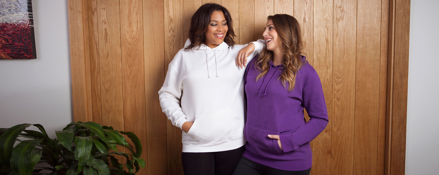 Plus Size Models wearing a white and purple hoodie