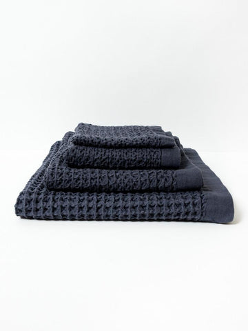 Lattice Towels - Navy
