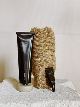 Sans Body Exfoliant, Sans Lip Aid & Massage Glove