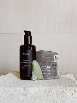 Mukti Hydrating Cleansing Lotion, MOKU Washer & Jade Gua Sha