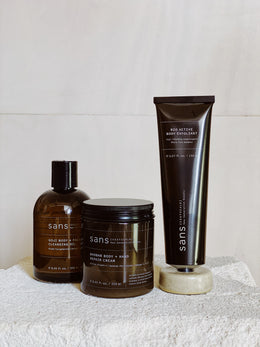 Sans Body & Face Oil, Regenerative Body Cream & Body Exfoliant