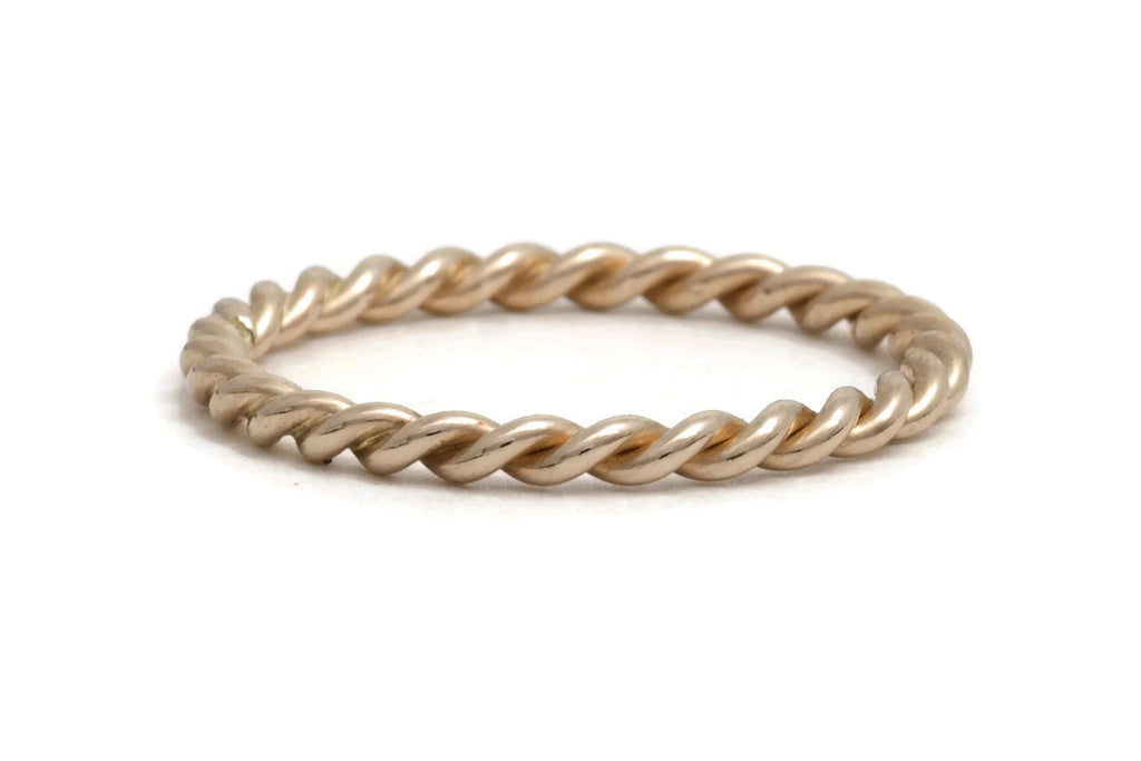 Rose Gold Rope Twist Ring, medium weight