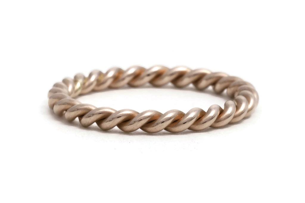 Rose Gold Rope Twist Ring, heavy weight