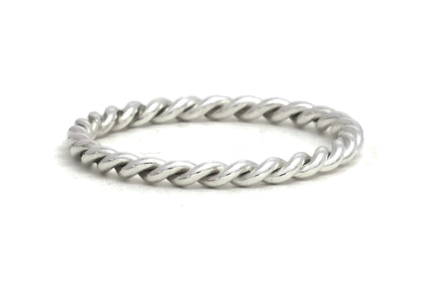 Silver Rope Twist Ring, medium weight