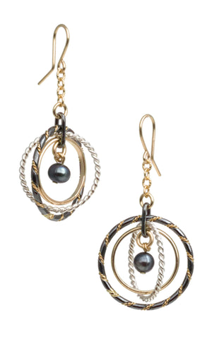 Fra Angelico Earrings, mixed with black pearls - E91mB