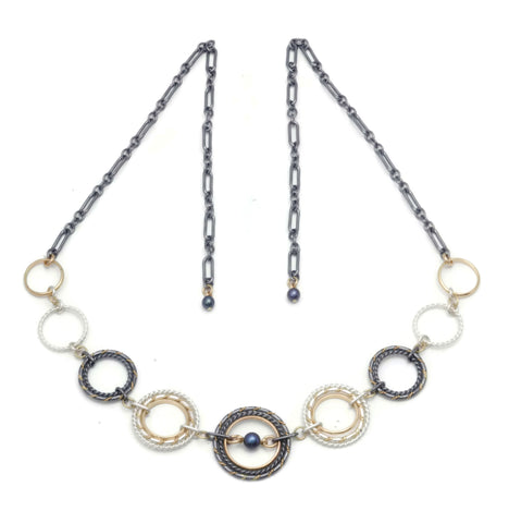 Fra Angelico Link Necklace, Mixed w/ black pearl