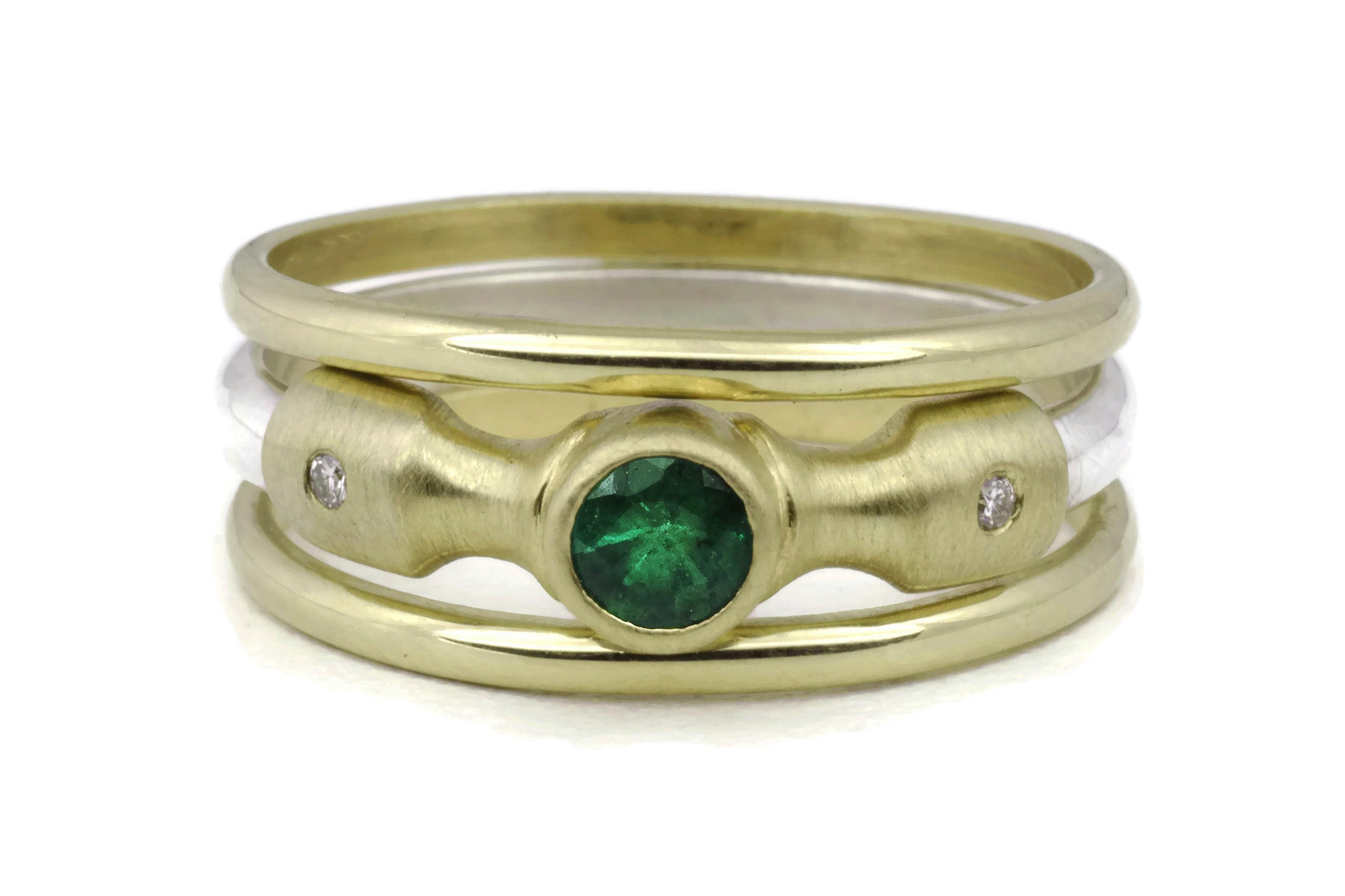 shank emerald pave center platinum silhouette and three in uneek cut with stone green ring