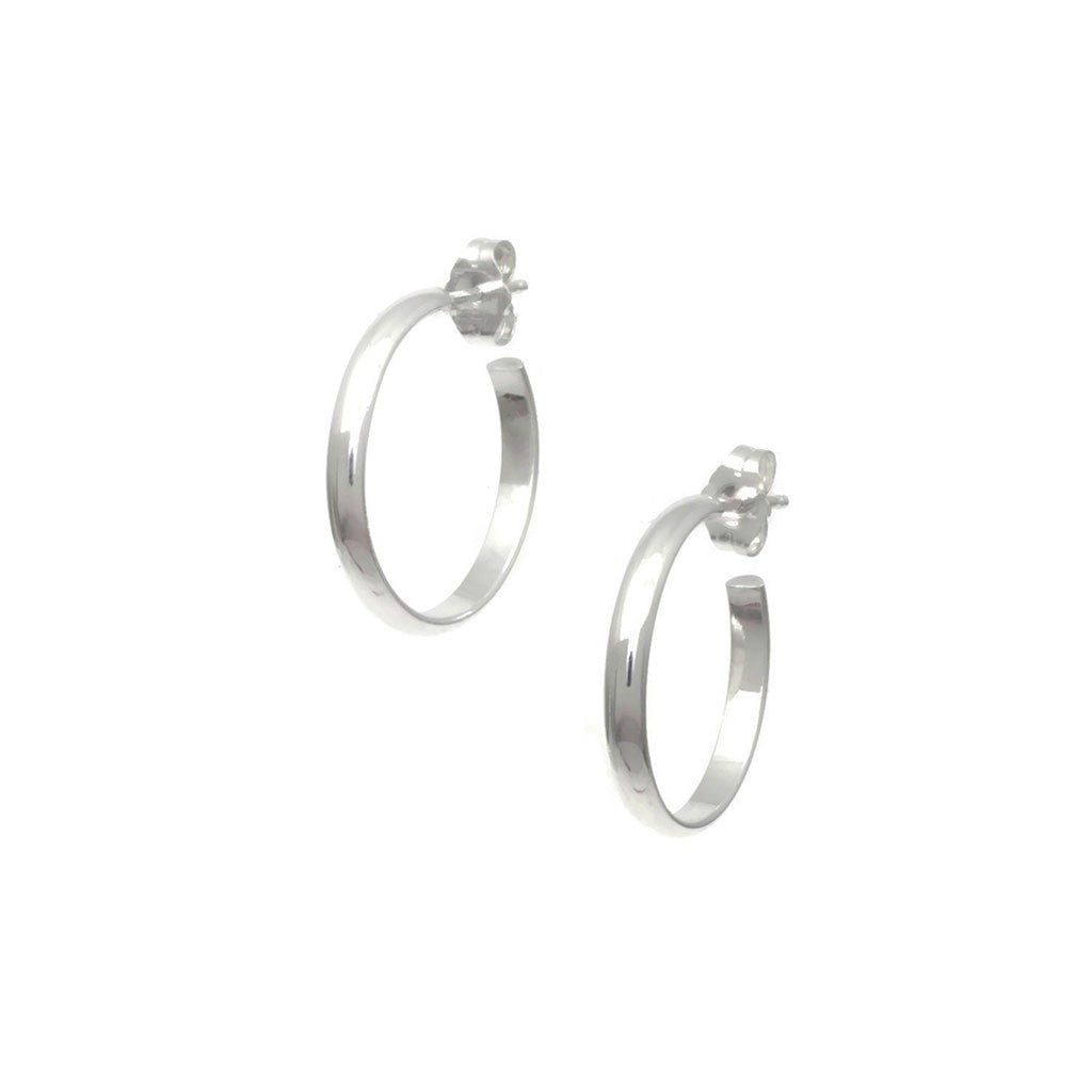 all jewellery sterling az zirconia earrings hoop view polished cubic high huggie ag bling jewelry flat silver tone