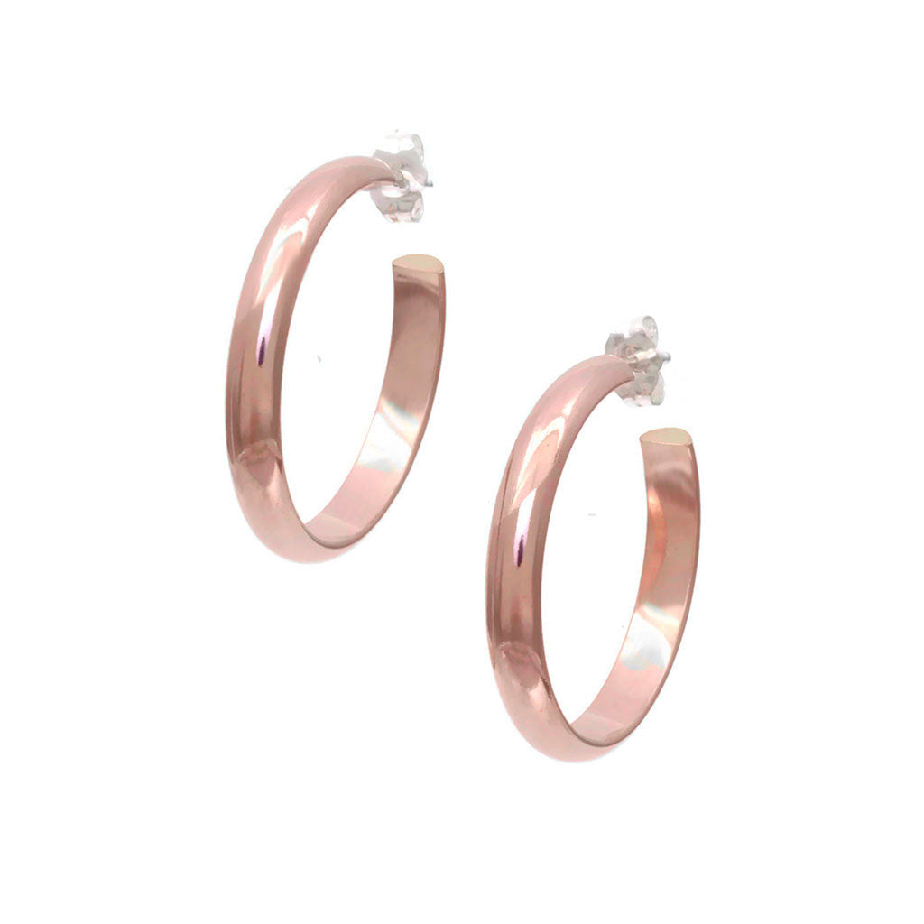 Plain Rose Gold Hoop Earrings, heavy weight EH2r