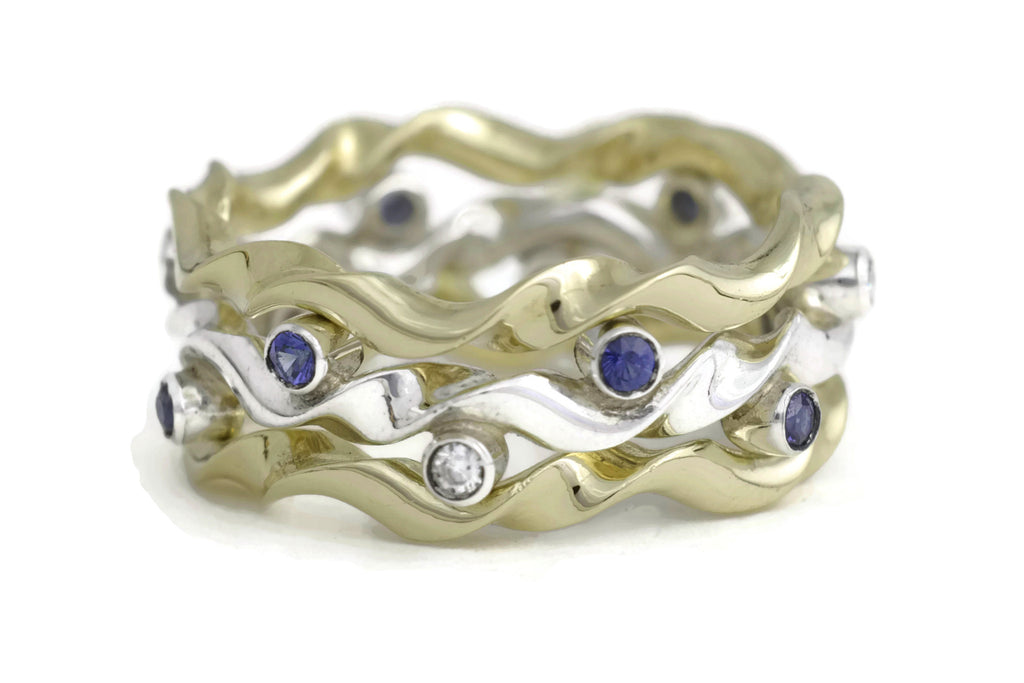 Kelp Forest Ring with Wave Ring Adornments - 18K & Silver