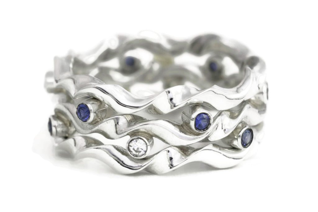 Kelp Forest Ring with Wave Ring Adornments - Silver