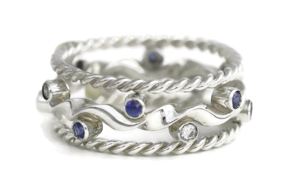 Kelp Forest Ring (Sapphire) with Rope Twist Adornments - Silver