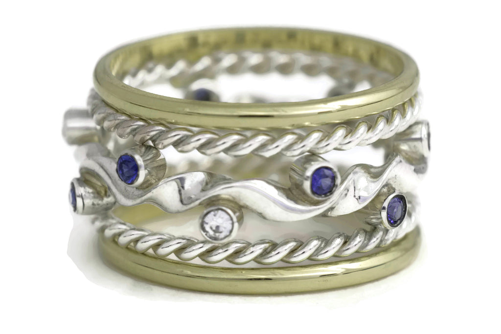 Kelp Forest Ring (Sapphire) with Gold Band and Rope Twist Adornments - 18K & Silver