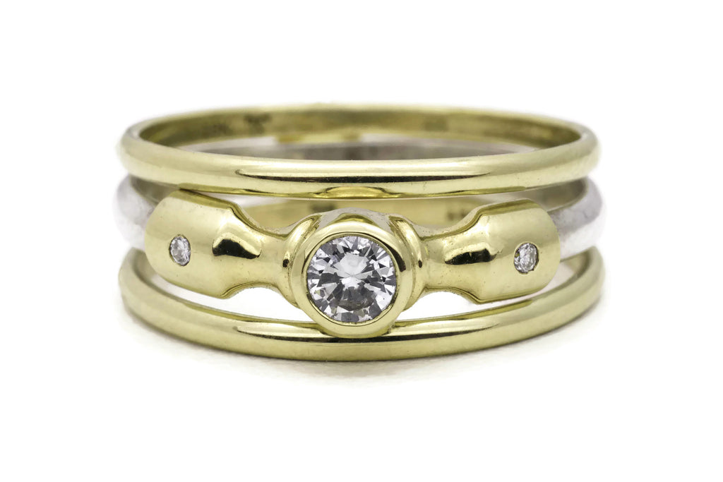 Lighthouse Ring with Gold Band Adornments - 18K & Silver