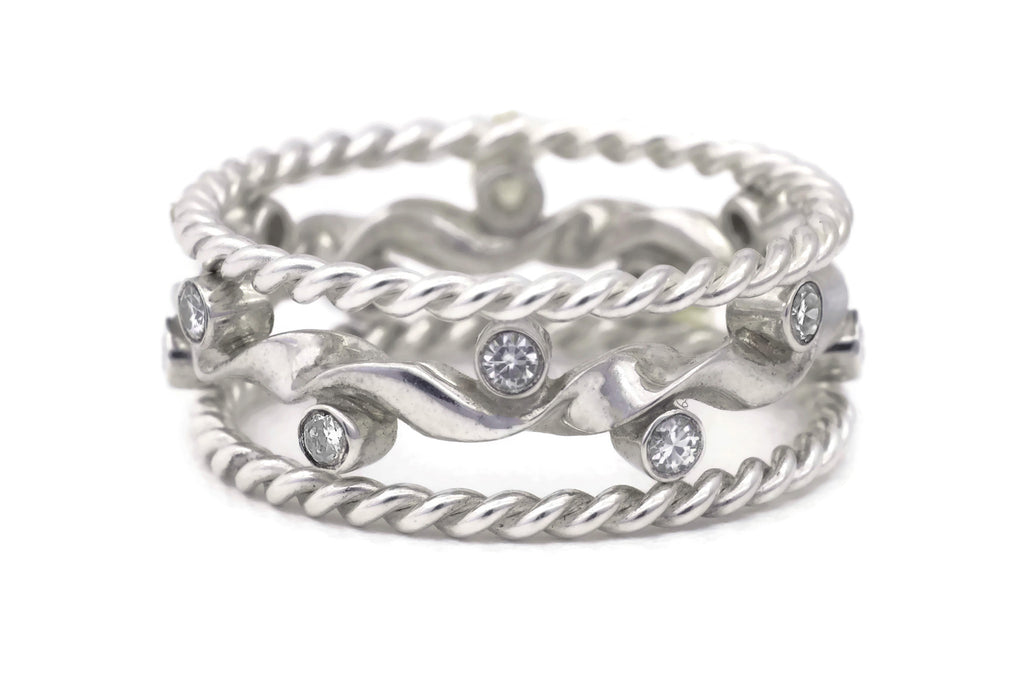 Kelp Forest Ring with Rope Twist Adornments - Silver 2
