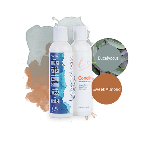 Shampoo & Conditioner for Natural Hair made with Sweet Almond and Eucalyptus