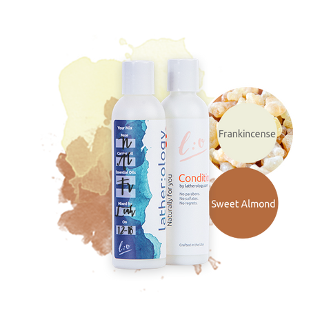 Shampoo & Conditioner for Natural Hair made with Sweet Almond and Frankincense