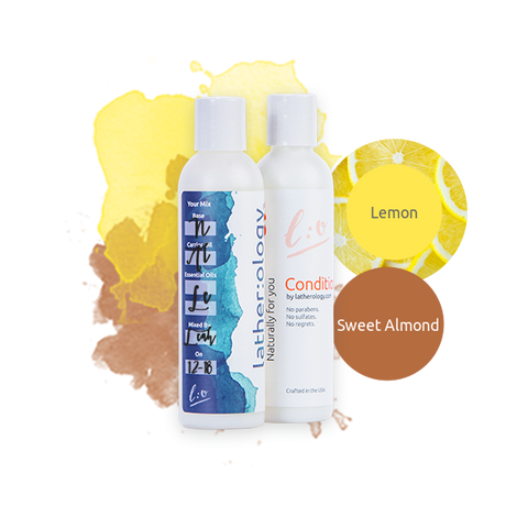 Shampoo & Conditioner for Natural Hair made with Sweet Almond and Lemon