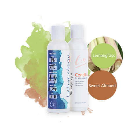 Shampoo & Conditioner for Natural Hair made with Sweet Almond and Lemongrass