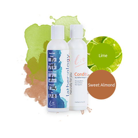 Shampoo & Conditioner for Natural Hair made with Sweet Almond and Lime