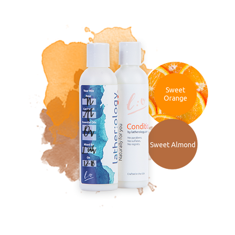 Shampoo & Conditioner for Natural Hair made with Sweet Almond and Sweet Orange