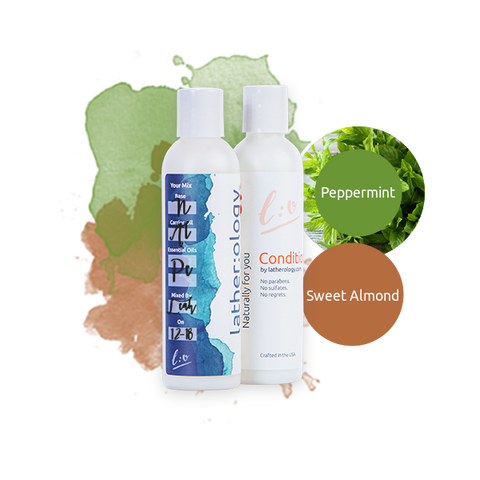 Shampoo & Conditioner for Natural Hair made with Sweet Almond and Peppermint
