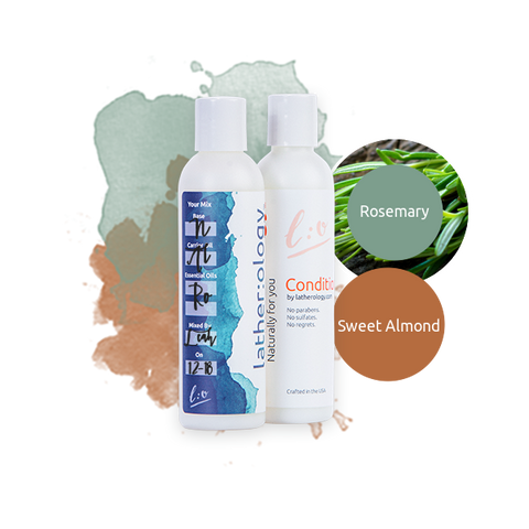 Shampoo & Conditioner for Natural Hair made with Sweet Almond and Rosemary