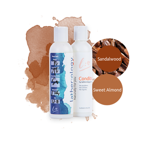 Shampoo & Conditioner for Natural Hair made with Sweet Almond and Sandalwood