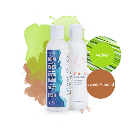 Shampoo & Conditioner for Natural Hair made with Sweet Almond and Vetiver