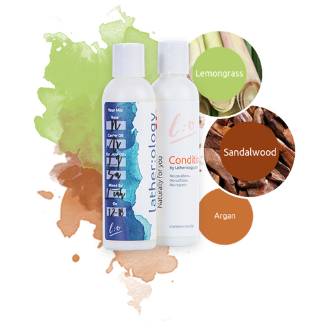Shampoo & Conditioner for Natural Hair made with Argan, Sandalwood, and Lemongrass
