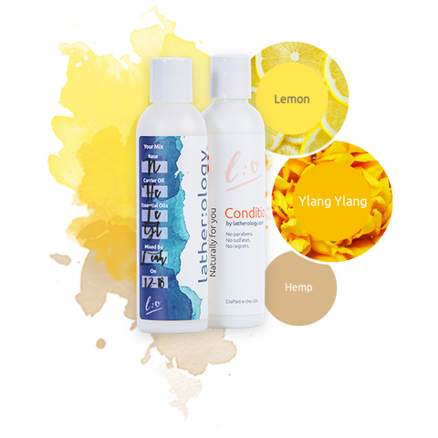 Shampoo & Conditioner for Natural Hair made with Hemp, Lemon, and Ylang Ylang
